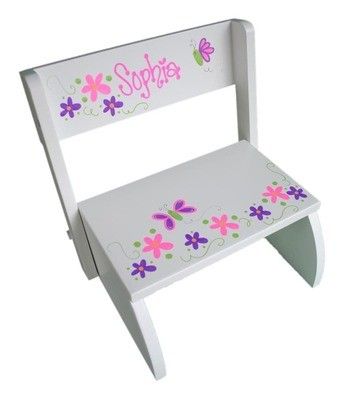 White Hand-Painted Personalized Flip Stool