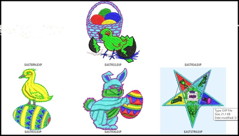 9 Easter Embroidery files ready to run on embroidery machines