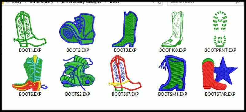 10 Boot Embroidery files ready to run on embroidery machines