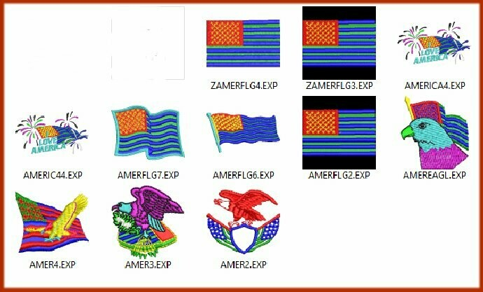 10 America Flag Embroidery files ready to run on embroidery machines