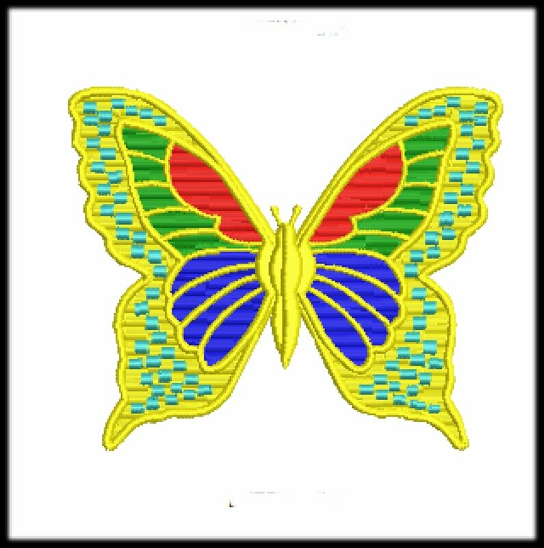 Butterfly files ready to run on embroidery machines in 2 sizes