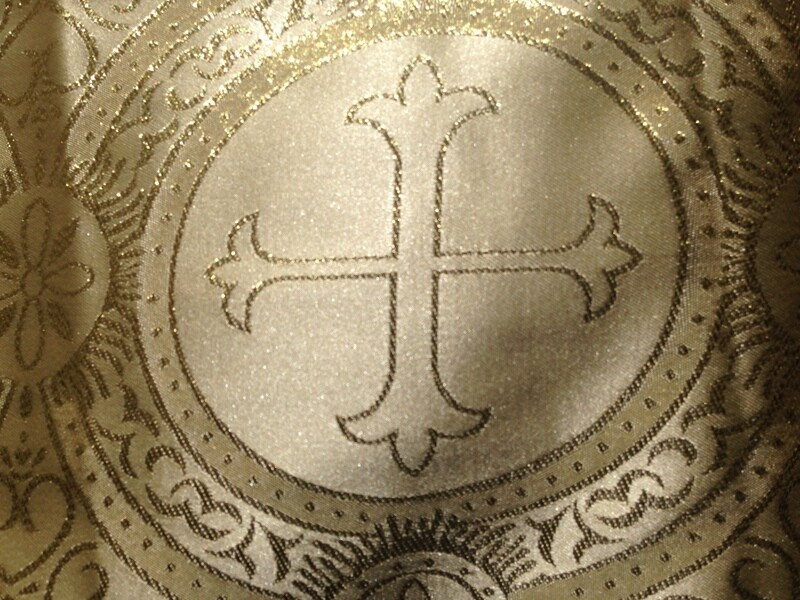 LITURGICAL JACQUARD BROCADE FABRIC CROSS ORTHODOX PASTOR VESTMENT FABRIC SOLD BY YARD WIDE 52-54