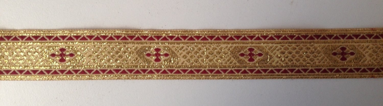 "4 yards Jacquard  Trim tape Color Gold Metallic Yarn with Red Wine Cross 1"" wide"