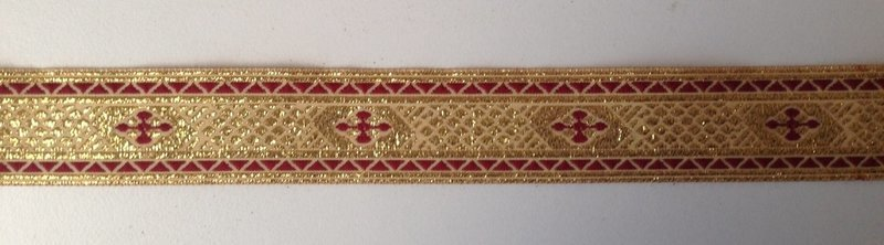 4 yards Jacquard  Trim tape Color Gold Metallic Yarn with Red Wine Cross 1