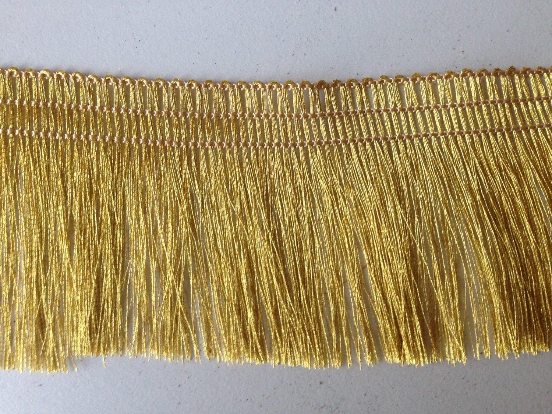 "4 Yards of 100% Gold Metallic Yarn Fringe Tape Trim 2"" Wide"