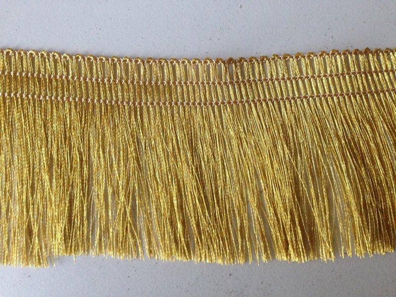 4 Yards of 100% Gold Metallic Yarn Fringe Tape Trim 2