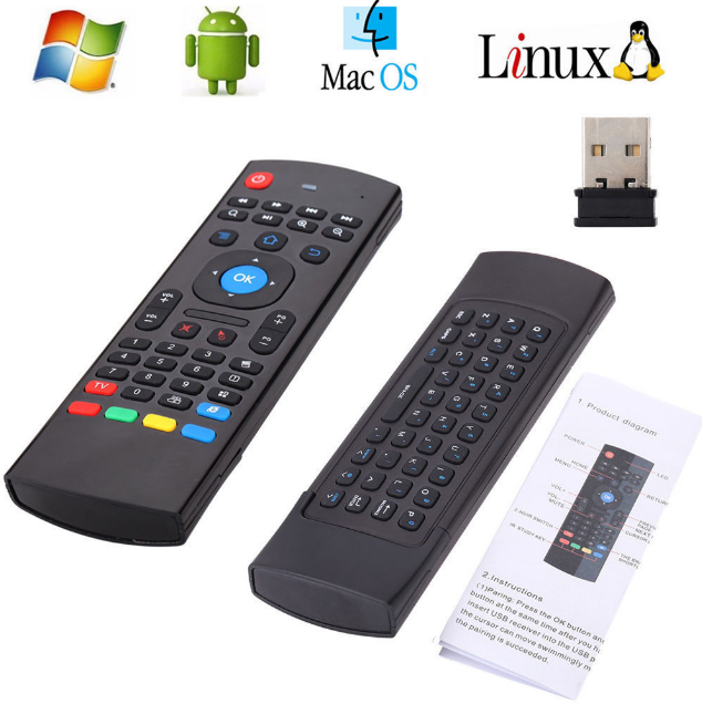 Universal Remote Control with Air Fly mouse and Keyboard use with Smart TV, PC, Media Box and any device needs remote and has USB Plug