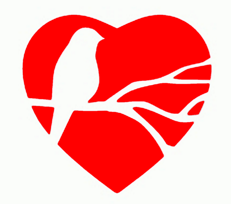 Heat transfer design to Print on fabric Heart like a bird design
