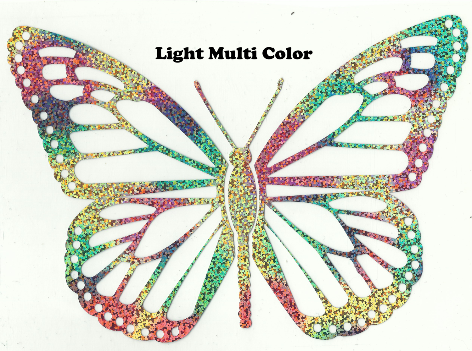 Hologram Metallic Multi Color Butterfly Design Heat Transfer Vinyl ready to put on T-Shirt