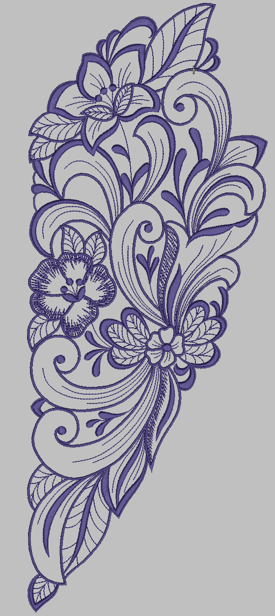 one color floral embroidery digitized file to run on any embroidery machine