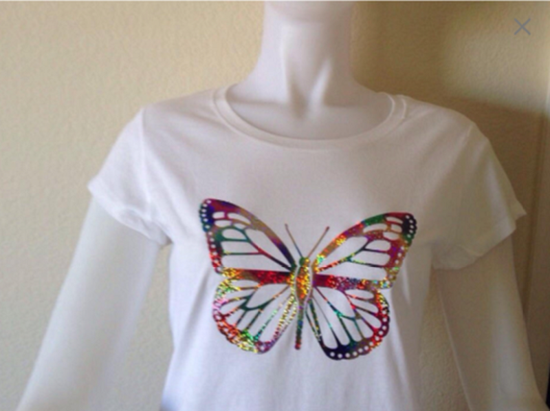 Ladies T-Shirt with Butterfly Metallic Design