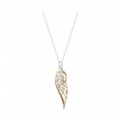Virtue Exquisite Mixed Metal Double Angel Wing Necklace