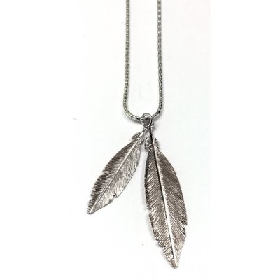 Virtue Exquisite Silver Double Feather Necklace