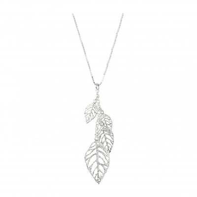 Virtue Exquisite Cascading Silver Leaf Necklace
