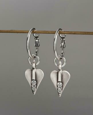 Danon Silver Heart Hoop Earrings With Swarovski Crystals