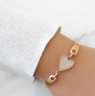 Orli Marble Heart Brangle Rose Gold