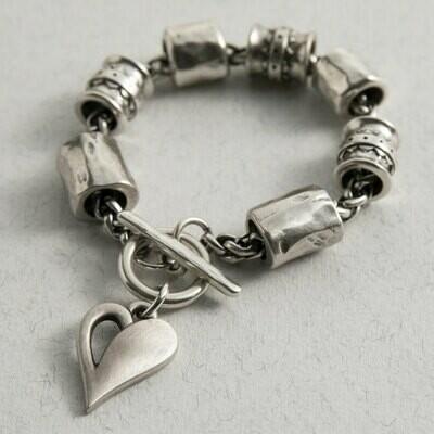 Danon Simply You Chunky Heart Bracelet Silver