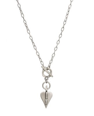 Danon Signature Heart Crystal T-bar Necklace