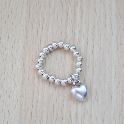 Orli Silver Beads Stretch Ring with Mini Puffed Heart
