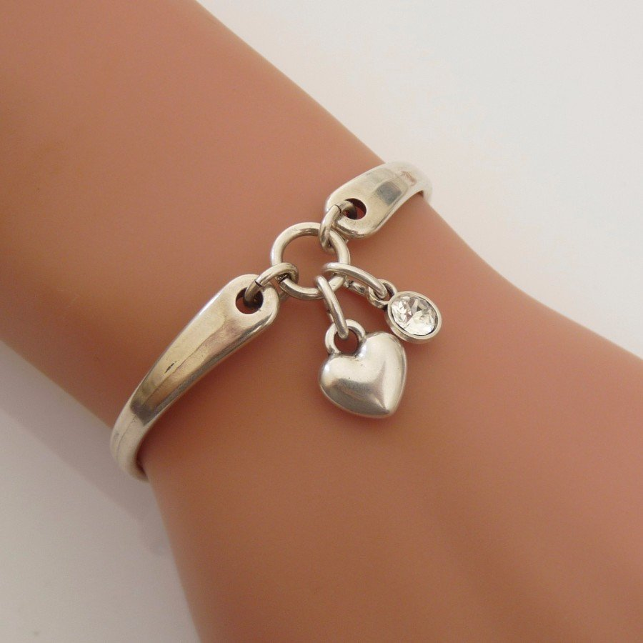 Orli Puffed Heart and Crystal 'Brangle' Silver
