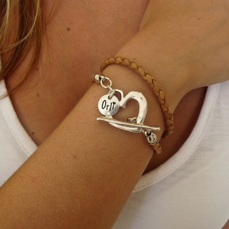 Orli Silver Pleated Leather Wrap Bracelet Tan