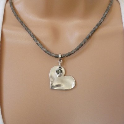 Orli Bevelled Heart and Crystal Pleated Leather Necklace Grey