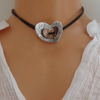Orli Leather Heart Choker Two Tone and Black