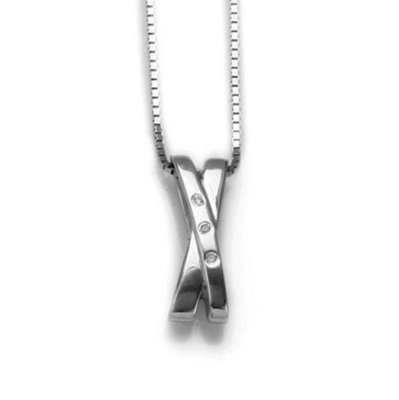 White Ice Sterling Silver Diamond Cross Necklace