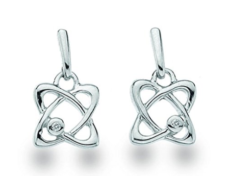 White Ice Sterling Silver Diamond Orbit Drop Earrings