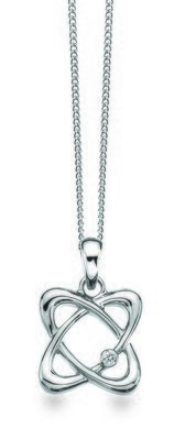 White Ice Sterling Silver Diamond Orbit Necklace