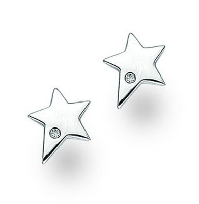 White Ice Sterling Silver Small Diamond Pointed Star Studs