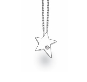White Ice Sterling Silver Diamond Pointed Star Necklace