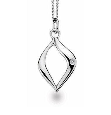 White Ice Sterling Silver Diamond Open Marquise Necklace