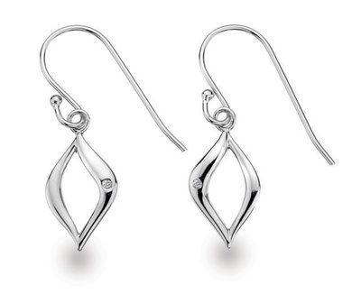 White Ice Sterling Silver Diamond Open Marquise Drop Earrings