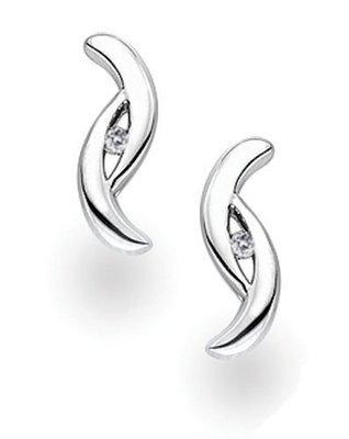 White Ice Sterling Silver Diamond Fancy Twist Stud Earrings