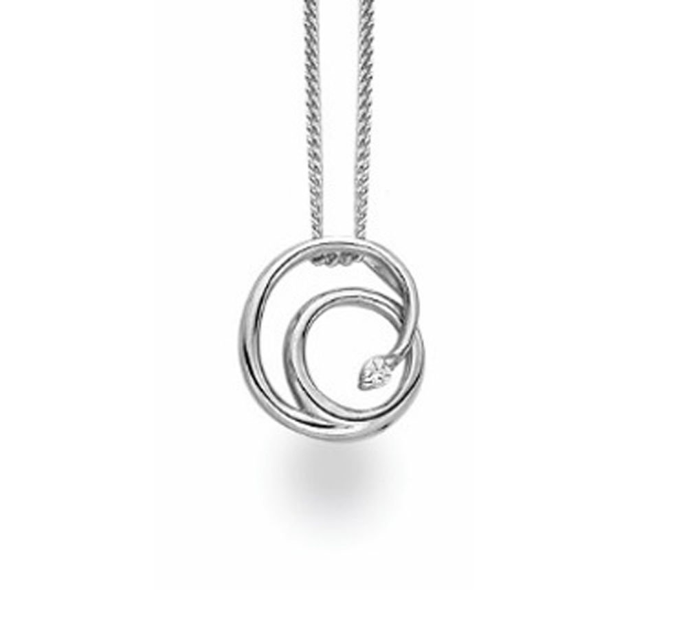 White Ice Sterling Silver Diamond Fancy Swirl Necklace
