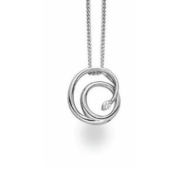 White Ice Sterling Silver Diamond Fancy Swirl Necklace