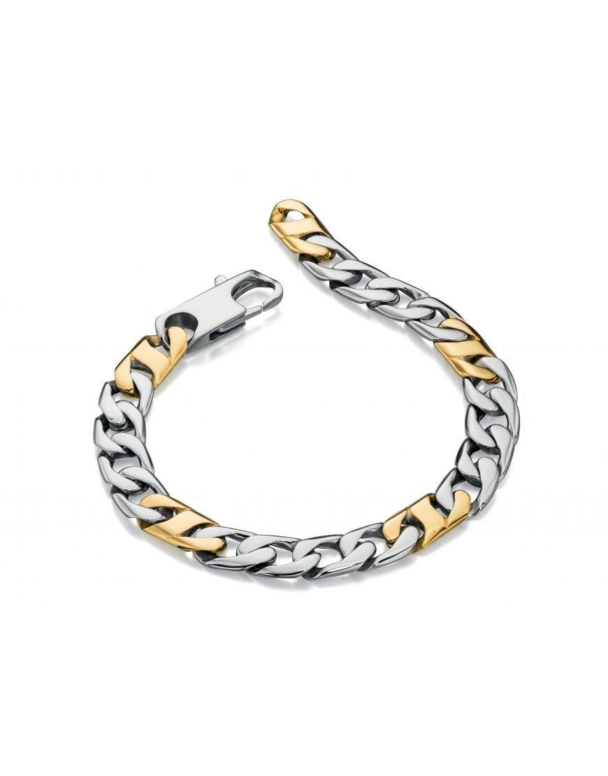 Fred Bennett Stainless Steel Gold Detail Link Bracelet