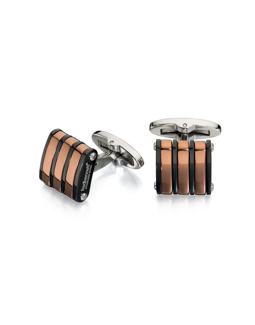 Fred Bennett Stainless Steel Black and Rose Gold Cufflinks