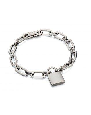 Fred Bennett Stainless Steel Link Padlock Bracelet