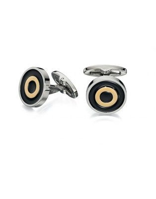 Fred Bennett Stainless Steel Round Black and Yellow Cufflinks