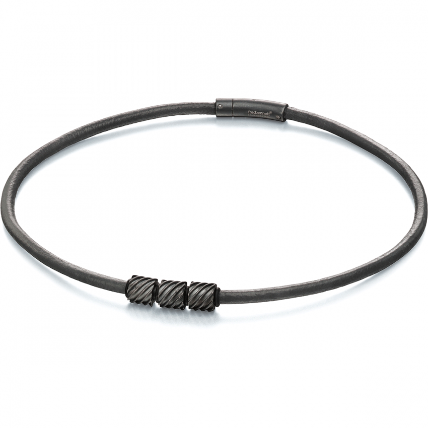 Fred Bennett Leather Beaded Necklace with Worn Grey Finish