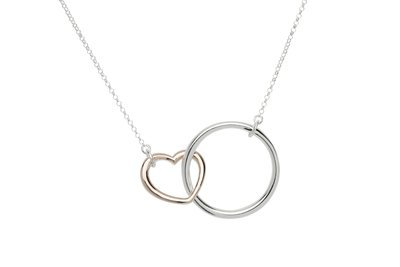 Unique & Co Silver and Rose Gold Heart Circle Necklace