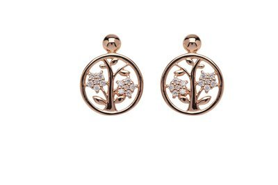 Unique & Co Rose Gold Tree of Life Earrings