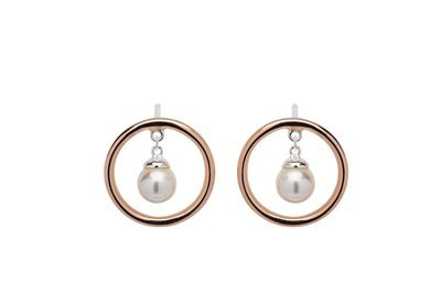 Unique & Co Silver and Rose Gold Pearl Earrings