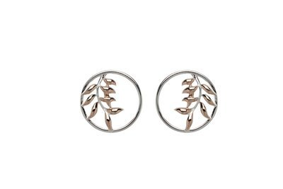 Unique & Co Silver and Rose Gold Leaf Earrings