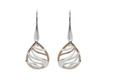 Unique & Co Silver and Rose Gold Drop Earrings