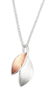 Unique & Co Rose Gold and Silver Leaf Necklace