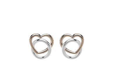 Unique & Co Rose Gold and Silver Open Heart Studs