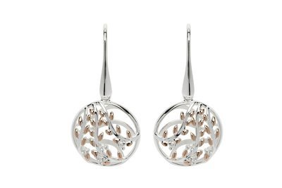 Unique & Co Rose Gold, CZ and Silver Leaf Drop Earrings